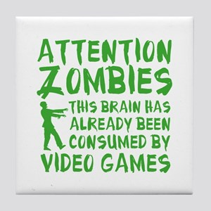 Attention Zombies Video Games Tile Coaster