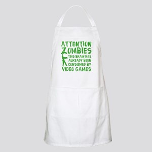 Attention Zombies Video Games Apron