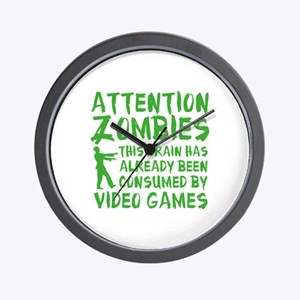 Attention Zombies Video Games Wall Clock