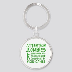 Attention Zombies Video Games Round Keychain