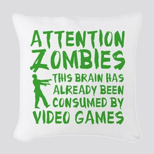 Attention Zombies Video Games Woven Throw Pillow