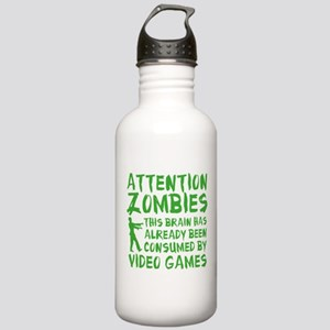 Attention Zombies Video Games Stainless Water Bott