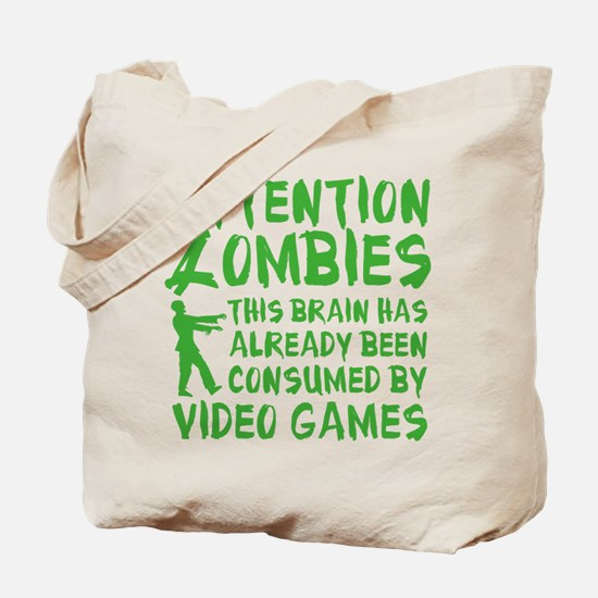 Attention Zombies Video Games Tote Bag