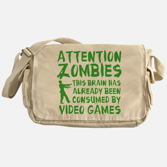 Attention Zombies Video Games Messenger Bag