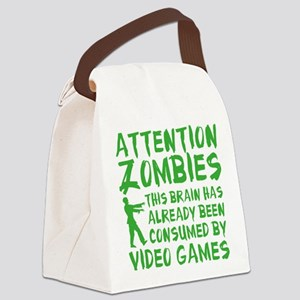 Attention Zombies Video Games Canvas Lunch Bag