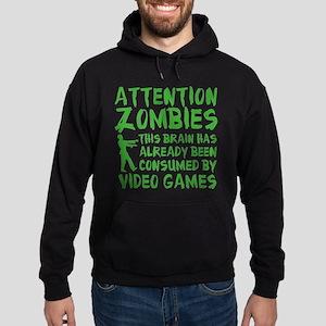 Attention Zombies Video Games Hoodie (dark)