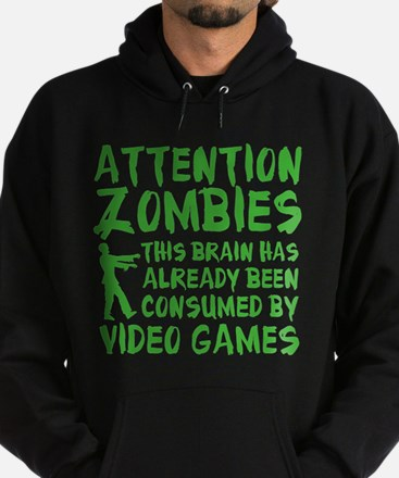 Attention Zombies Video Games Hoodie (dark)