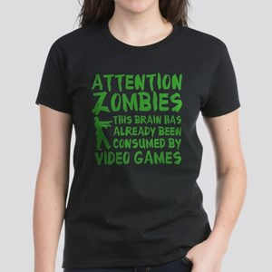 Attention Zombies Video Games Women's Dark T-Shirt