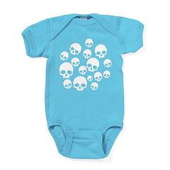 Light Blue Random Skull Pattern Baby Bodysuit