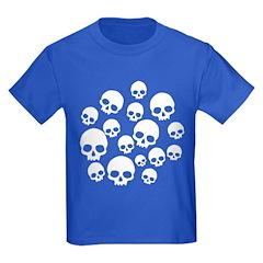 Light Blue Random Skull Pattern Kids Dark T-Shirt