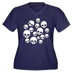 Light Blue Random Skull Pattern Women's Plus Size