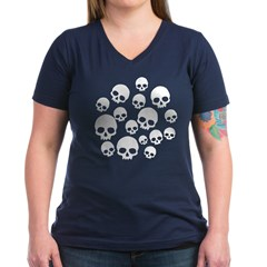 Light Blue Random Skull Pattern Women's V-Neck Dar