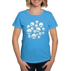 Light Blue Random Skull Pattern Women's Dark T-Shi