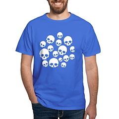 Light Blue Random Skull Pattern Dark T-Shirt