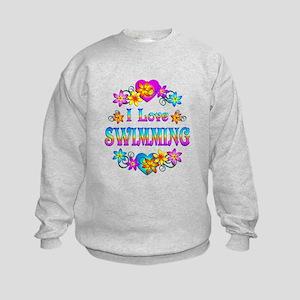 I Love Swimming Kids Sweatshirt