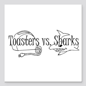 """Toasters vs. Sharks Square Car Magnet 3"""" x 3"""""""