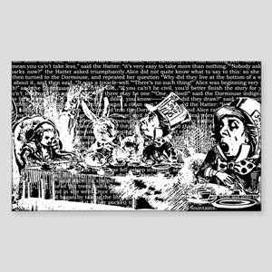 Vintage Alice Border Black Sticker (rectangle)
