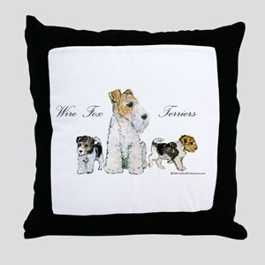 Fox Terrier Family Throw Pillow