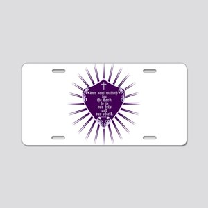 Psalm 33:20 Shield Purple Aluminum License Plate