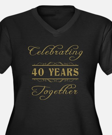 Celebrating 40 Years Together Women's Plus Size V-