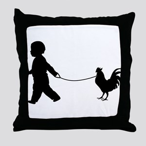 Baby and Chicken black Throw Pillow