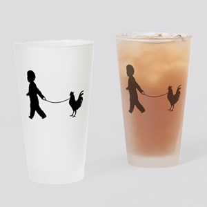 Baby and Chicken black Drinking Glass