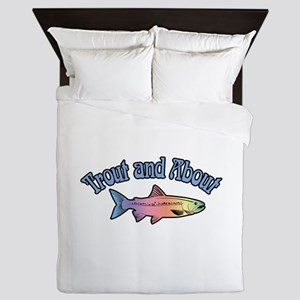 Trout Fishing Word Play Queen Duvet