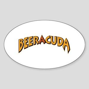 Funny Beeracuda Fishing Sticker (Oval)