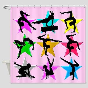 PINK GYMNAST STAR Shower Curtain