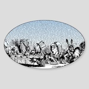 Vintage Alice Border Blue Sticker (Oval)