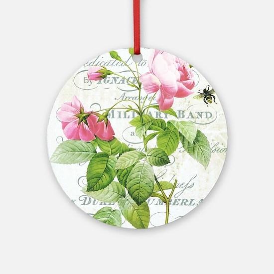 Vintage French Botanical pink rose Ornament (Round
