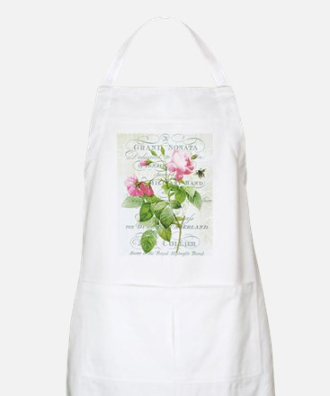 Vintage French Botanical pink rose Apron