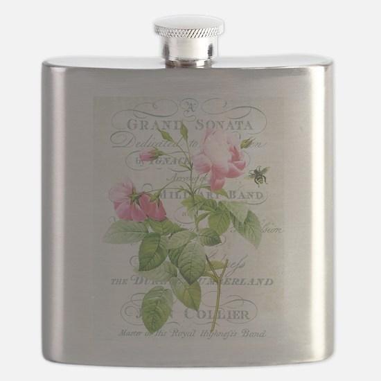Vintage French Botanical pink rose Flask