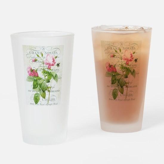 Vintage French Botanical pink rose Drinking Glass