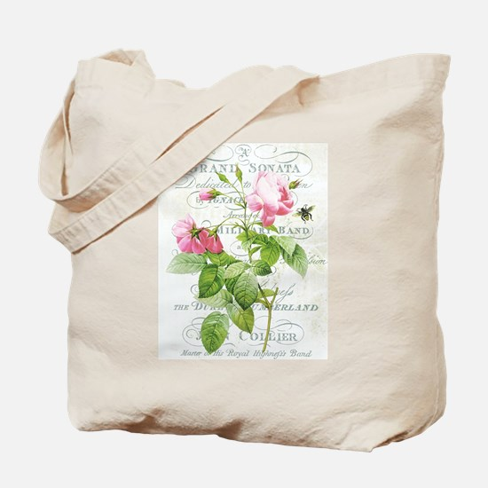 Vintage French Botanical pink rose Tote Bag