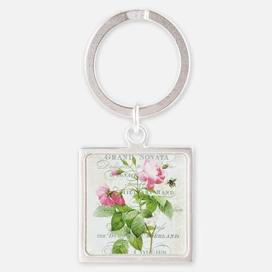 Vintage French Botanical pink rose Keychains