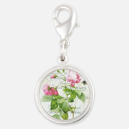 Vintage French Botanical pink rose Charms