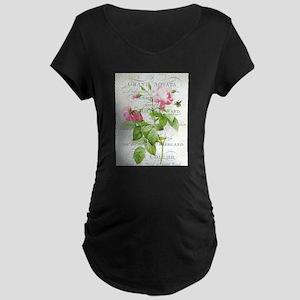 Vintage French Botanical pink rose Maternity T-Shi