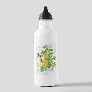 Vintage French botanical yellow rose Water Bottle