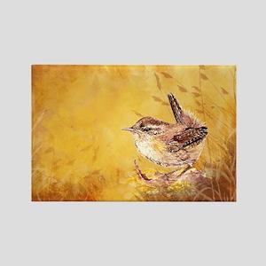 Watercolor Wren Bird Rectangle Magnet