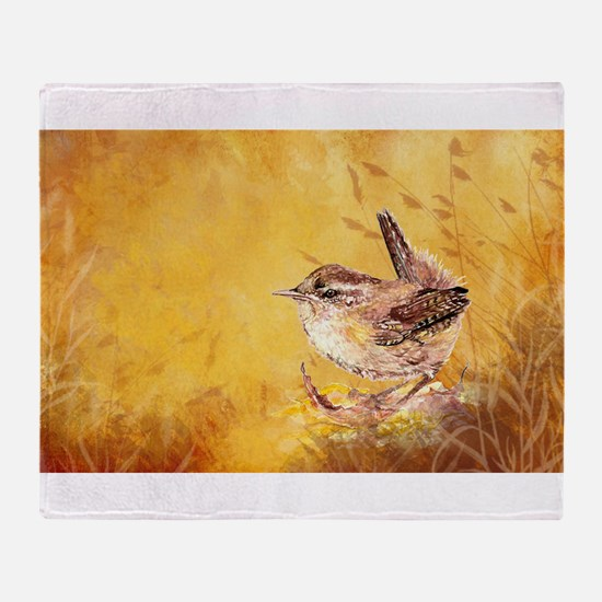 Watercolor Wren Bird Throw Blanket