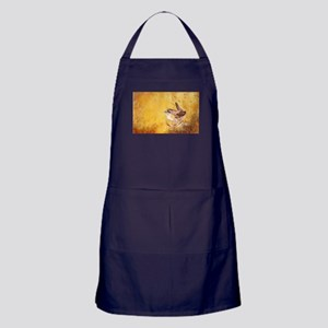 Watercolor Wren Bird Apron (dark)