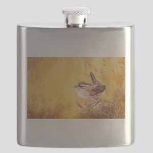 Watercolor Wren Bird Flask