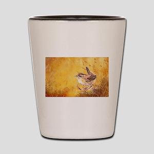 Watercolor Wren Bird Shot Glass