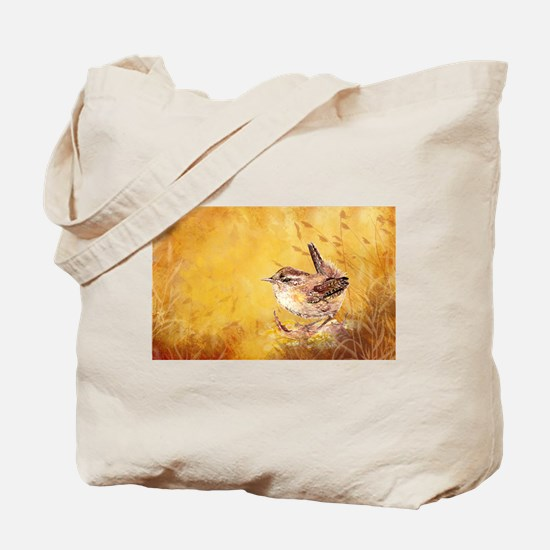 Watercolor Wren Bird Tote Bag