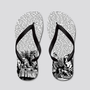 Vintage Alice Text And Border Flip Flops
