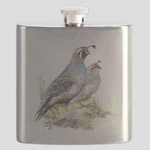 Watercolor California Quail Bird Flask