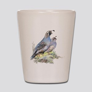 Watercolor California Quail Bird Shot Glass