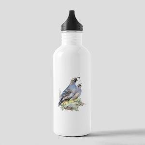 Watercolor California Quail Bird Stainless Water B