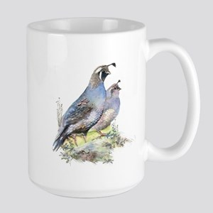 Watercolor California Quail Bird Large Mug